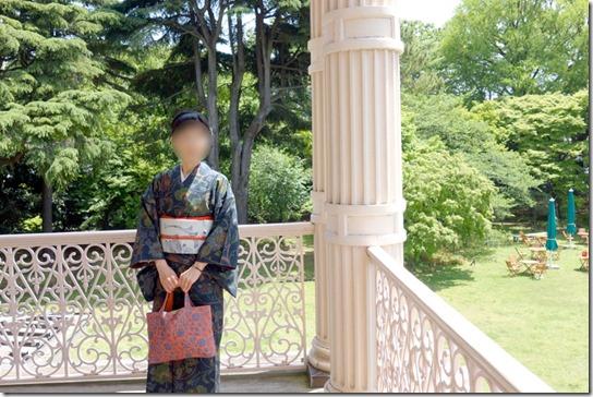 唐草模様のきもので旧岩崎邸庭園へ・その1