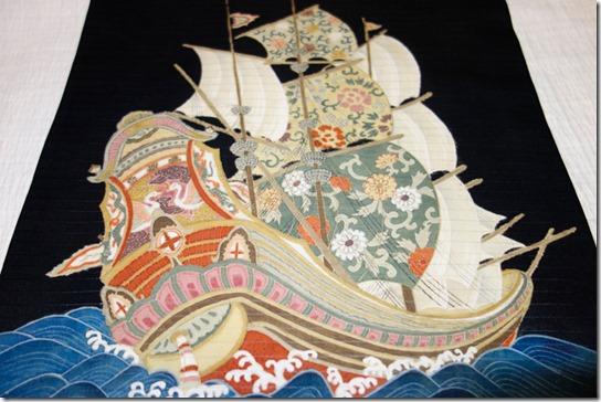 絽塩瀬・帆船柄の帯