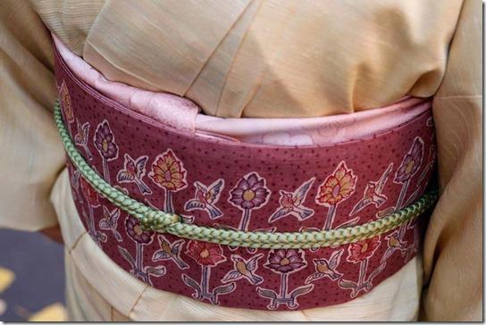 紅花紬と鳥文様の帯
