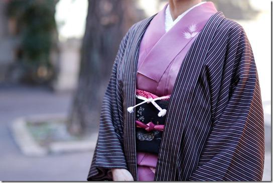 縞御召の羽織で六本木歌舞伎へ