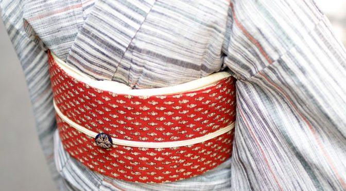 茜地更紗の帯
